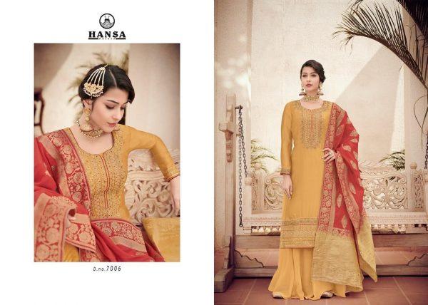 Hansa Banarasi Vol 7 - Golden Yellow With Red Orna