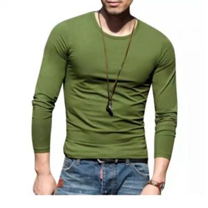 Olive Blue Cotton Long Sleeve T-Shirt For Men