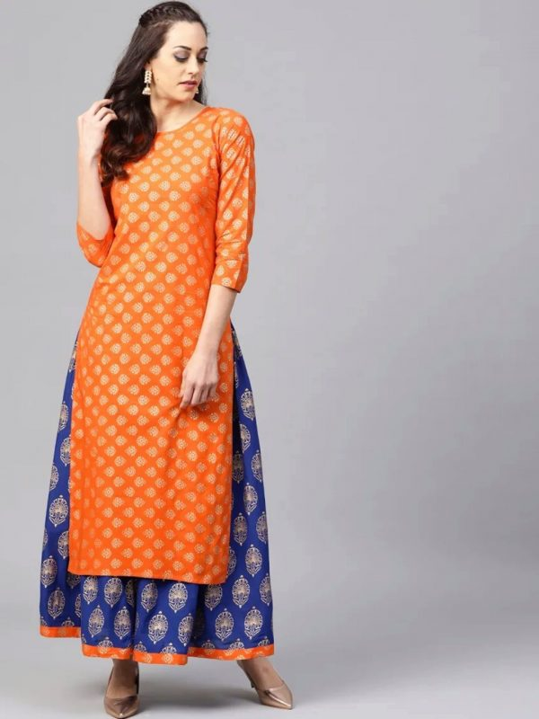 Unstitched Orange Kameez With Navy Blue Stitched Skirt